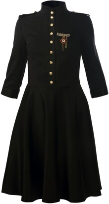 Muza Military Style Dress Decorated With Brooch