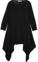 Max Mara Draped Silk And Cashmere-blend Top - Black