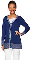 Denim & Co. Long Sleeve V-Neck Cardigan w/ Twill Tape