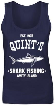 Flip Womens Quints Fishing Shark Jaws Inspired Amity Cult Movie Vest Tank Top Navy Blue UK 10 (M)