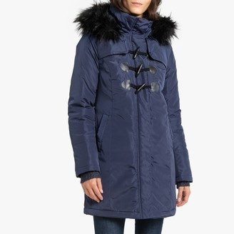 Anne Weyburn Mid-Length Hooded Winter Parka with Faux Fur Hood and Pockets