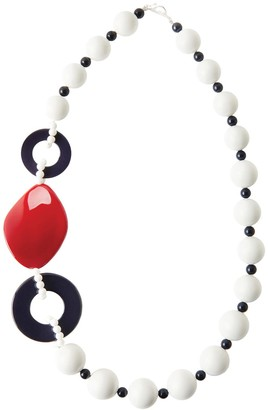 Riviera Inspired Statement Necklace In White, Red & Blue