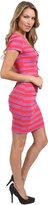 Nicole Miller Short Sleeve Striped Tucked Dress