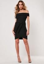 Missguided Black Bardot Tie Waist Bodycon Mini Dress