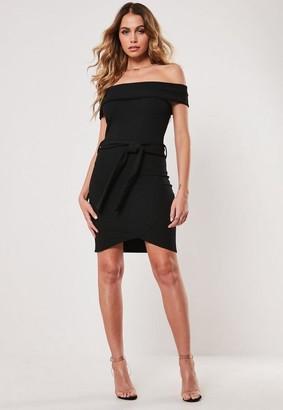 Missguided Bardot Tie Waist Bodycon Mini Dress