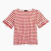 J.Crew Ruffle-sleeve T-shirt in stripe