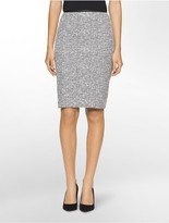 Calvin Klein Boucle Faux Leather Suit Skirt