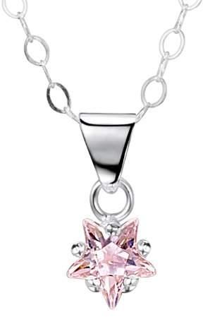Jo for Girls Jo 6mm Pink Cubic Zirconia Star Sterling Silver Pendant