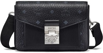 MCM Small Millie Visetos Water Resistant Leather Crossbody Bag