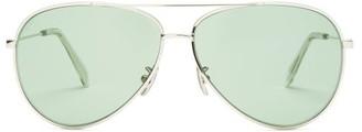 Celine Aviator Metal Sunglasses - Womens - Green Silver
