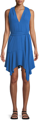 Halston Sleeveless V-Neck Dress with Sash