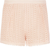 See by Chloe Stretch crepe-trimmed guipure lace shorts
