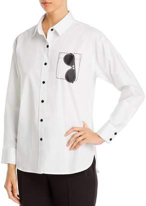 Karl Lagerfeld Paris Sunglasses Graphic Button-Front Top