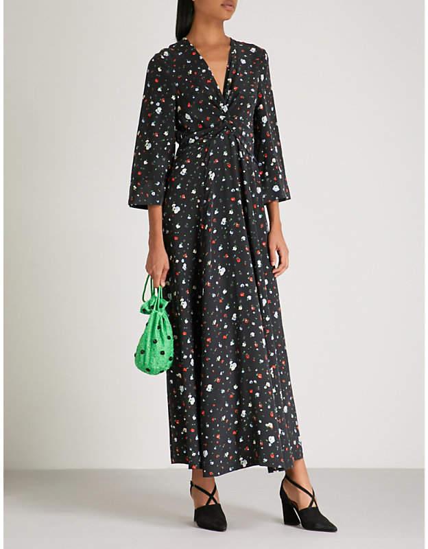Ganni Nolana floral-print silk maxi dress