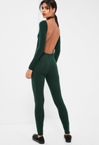 Missguided Green Low Back Long Sleeve Ribbed Unitard Romper