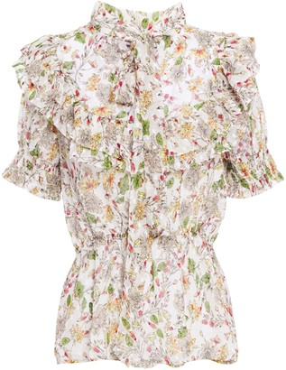Walter Baker Ruffled Fil Coupe Floral-print Georgette Blouse
