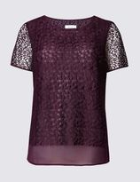 Marks and Spencer Short Sleeve Embroidered Shell Top