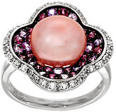 Honora Cultured Pearl 10.5mm & Multi-gemstone Sterling Ring