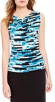 Calvin Klein Digital Stripe Print Pleat Neck Matte Jersey Shell