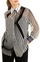 Thumbnail for your product : Marina Rinaldi, Plus Size Optical Silk Georgette Blouse