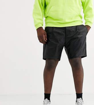 Asos Design DESIGN Plus slim shorts in faux leather-Black