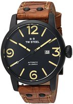TW Steel Men's 'Maverick' Quartz Stainless and Leather Casual Watch, Color:Brown (Model: MS36)