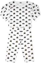 Pixie Dixie Taxi Round Neck Boy's Pyjamas White/Black 9-10 years