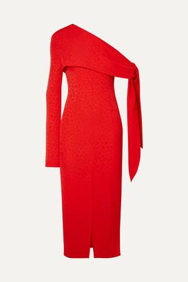 MATÉRIEL One-shoulder Draped Jacquard Midi Dress - Red