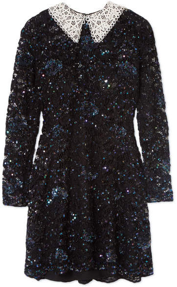 Ashish Wednesday Embellished Corded Lace Mini Dress - Black