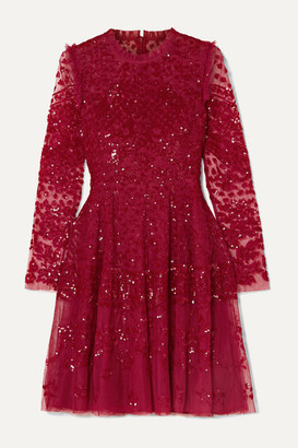 Needle & Thread Aurora Ruffled Sequined Tulle Mini Dress - Red