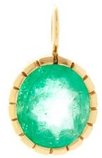 Retrouvaí Heirloom Emerald & 14kt Gold Charm - Green Gold