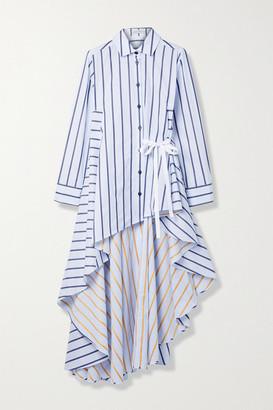 Palmer Harding Super Draped Asymmetric Striped Cotton-poplin Shirt - White