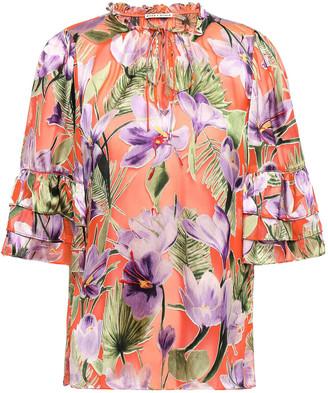 Alice + Olivia Julius Tie-neck Floral-print Burnout Satin Blouse