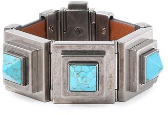 Valentino Studded Gunmetal-tone And Leather Bracelet