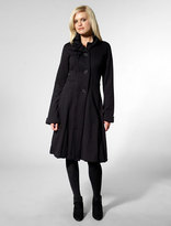 Simeon Wide Lapel Trench Coat in Black