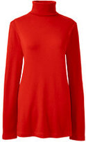 Classic Women's French Terry Ribbed Turtleneck Tunic-Red Orange