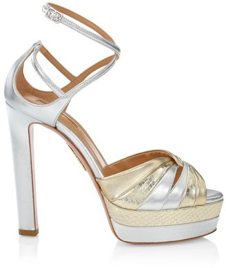 Aquazzura La Di Da Metallic Leather Platform Sandals