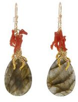 Alexis Bittar Gold and Coral Vine Earrings - Labradorite