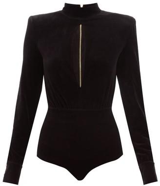 Balmain Cut-out Velvet Bodysuit - Womens - Black