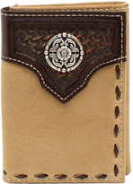 Ariat Tan Basketweave Concho Trifold Wallet