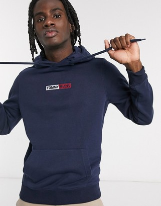 Tommy Jeans embroidered box logo hoodie slim fit in navy