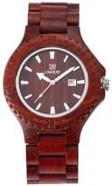 GOHUOS Men's Unique Wooden Watches Round Quartz Analog Calendar Casual Wrist Watch Gift