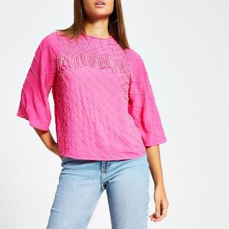 River Island Womens Pink sequin beaded tassel top