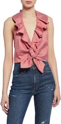 Alice + Olivia Dannette Ruffle Tie-Front Crop Halter Top