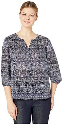Tommy Bahama Lavasa Dotsa 3/4 Sleeve Top (Island Navy) Women's Clothing