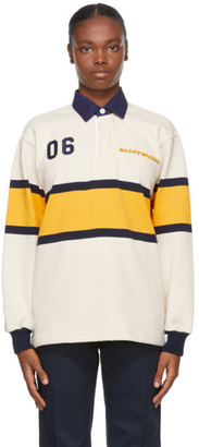 Saintwoods Beige Rugby Long Sleeve Polo