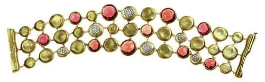 Marco Bicego 18K Yellow Gold with Diamond Garnet Bracelet