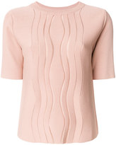 Carven stripe short sleeve knitted top