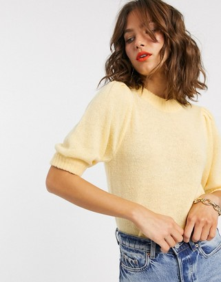 Y.A.S knitted jumper with puff sleeve in yellow