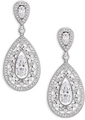 Adriana Orsini Pave Crystal Small Pear Drop Earrings/Silvertone